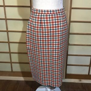 Vintage 60s houndstooth wool pencil skirt xs